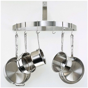 Keep pots and pans out of curious toddlers' reach by hanging them from this Wall Mount Half Circle Pot Rack in Brushed Stainless Steel. While many racks hang over cutting islands in a kitchen's center--blocking the sightlines and bumping the heads of taller individuals--the half-circle model fits neatly against a wall to preserve open space while providing quick and easy access to cookware. Made of stainless steel with a brushed finish for luster, this handy rack provides reliable support for years of use. Six included stainless-steel hooks are angled to securely hold pot and pan handles. The rack is accompanied by all the necessary hardware for assembly. As shipped, this item measures 25.9 by 12.9 by 5.9 inches and weighs 4 pounds.