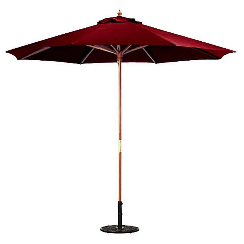 9-FT Market / Patio Umbrella with Burgundy Canopy, B9FP465484 :  This 9-FT Market / Patio Umbrella with Burgundy Canopy would be a great addition to your home. We recommend to take inside during extreme weather to avoid damage. To clean use a mild soap and water solution. Not intended for Commercial Use, only warrantied for 500 hours of direct sunlight for commercial use. Maintenance free.