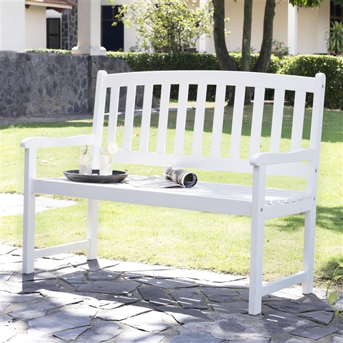 5-Ft Wood Garden Bench with Curved Slat Back and Armrests in White, CPCBW1516981 :  This 5-Ft Wood Garden Bench with Curved Slat Back and Armrests in White makes a beautiful addition to any garden, porch, or patio. This handsome bench is exclusively offered through this site and unavailable elsewhere, featuring a sturdy frame constructed from solid acacia and a sleek red finish. A contoured seat and straight armrest provide comfort and a slatted back provides support. The piece assembles quickly and easily. Color White; Seat Length 4 foot