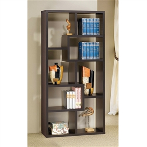 This Modern Cube Contemporary Style Bookcase in Cappuccino Finish can be used to dress up any wall with the look of interlocking shelves, which provide storage and display space in differently sized compartments. Finished in a deep cappuccino color.