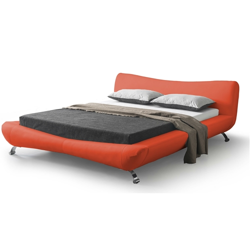 Sweet dreams and restful sleep are also fashionable when you have this California King size Modern Red Faux Leather Platform Bed with Upholstered Headboard in your home. The chrome legs are also adding modern accent to the bed. The bright color of the upholstery and headboard also creates a wonderful color contrast with any kind of mattress and bedding style, making it an exquisite addition that will complement any kind of bedroom decor. Soft and durable, the leather finish is easy to clean up and hides stains. The padded headboard is perfect for reading or watching television in bed. Headboard Type: Panel; Frame Material: Wood; Headboard Included: Yes. Non-Toxic: Yes; Mattress Included: No; Recommended Mattress Height: 8 Inches. Footboard Storage: No; Under Bed Storage: No; Center Support Legs: Yes. Eco-Friendly: Yes; Country of Manufacture: China.