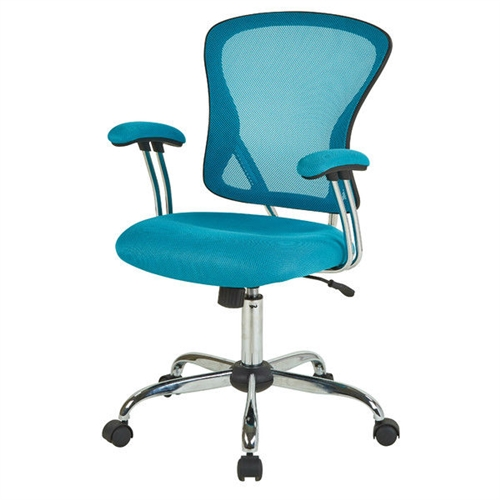 This Blue High Back Mesh Office Chair with Padded Armrest would be a great addition to your home. It has padded armrests and locking tilt control with adjustable tilt tension. Locking tilt control with adjustable tilt tension; Finish: Chrome; Intended for residential use only; Manufacturer provides 1 year limited warranty.