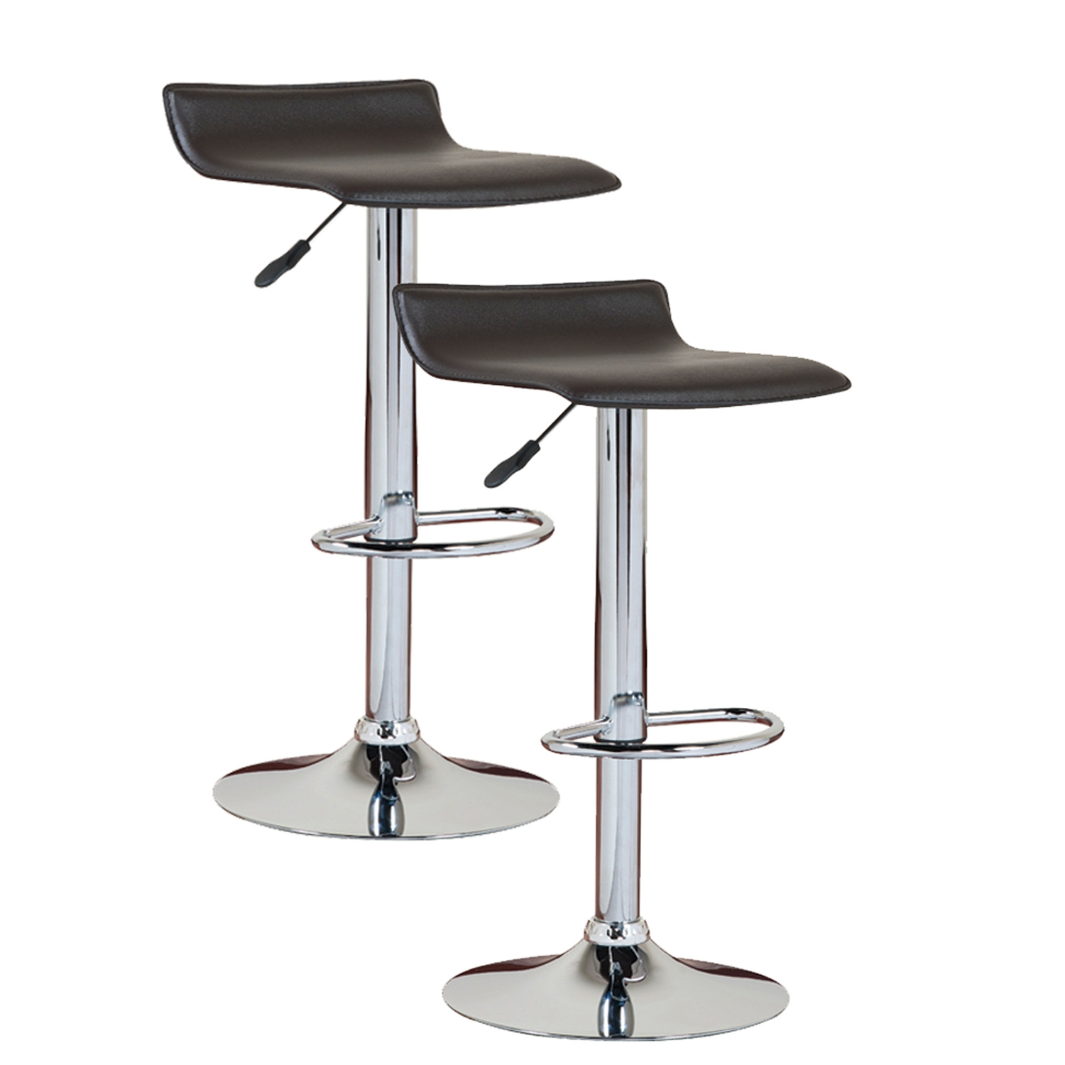This Set Of 2 Modern Swivel Bar Stools In Black And Chrome Is A Blend Of