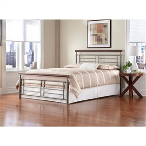 This Full size Contemporary Metal Bed in Silver / Cherry Finish has a silver, geometric, metal grills accented by round metal top rails that are finished to resemble cherry wood are the perfect addition to your contemporary style room. The headboard and footboard present a clean, crisp, tailored look. the simple lines, slim silhouette and neutral finishes of the bed makes a remarkable focal point for your bedroom – a beautiful piece of modern art. The bed is available in full, queen and king sizes. It can be purchased as a complete bed or as a headboard only.