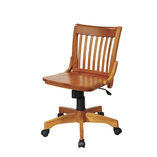 This Armless Bankers Chair with Adjustable Height Wood Seat would be a great addition to your home. It has an adjustable height seat and a fruitwood finish. Chair Can Be Adjusted From 17.25 to 20.75 Inches