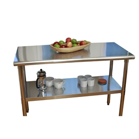 This Stainless Steel Top Food Safe Prep Table Utility Work Bench with Adjustable Shelf is a high quality all stainless steel table is great for your indoor, outdoor, kitchen, or garage needs. NSF certified, this table is built with a fully-adjustable stainless steel bottom shelf to store anything you need.