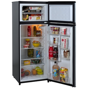 This 7.4 Cubic Feet Refrigerator with Top Freezer in Black w/ Platinum Finish would be a great addition to your home.