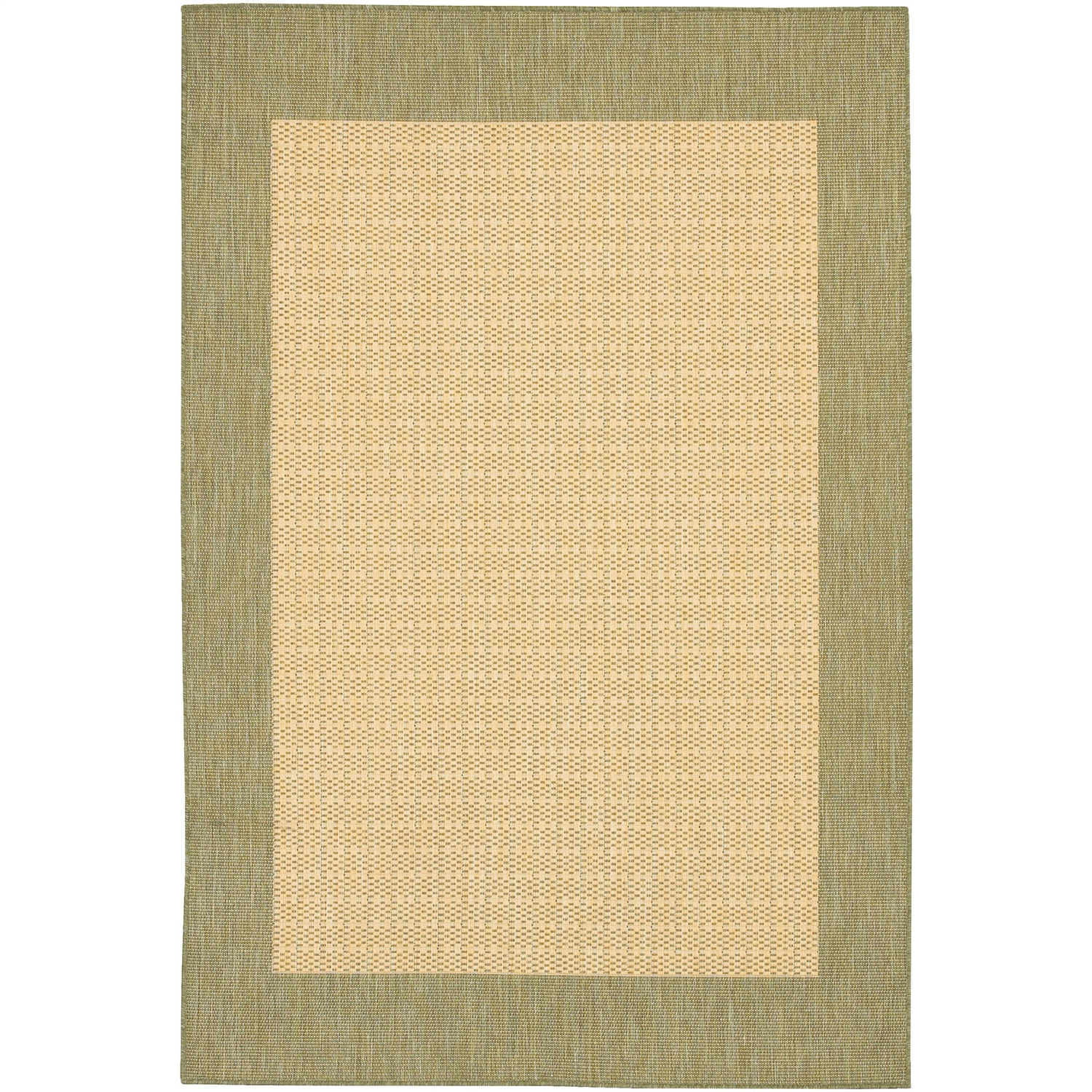 3'9 x 5'5 Checkered Area Rug in Green Tan for Indoor Outdoor Rug, CFR495151 :  This 3'9 x 5'5 Checkered Area Rug in Green Tan for Indoor Outdoor Rug would be a great addition to your home. It has a natural color and is made of 100% fiber-enhanced polypropylene. Border Material: Synthetic; Border Color: Natural; Material: Synthetic; Material Details: Polypropylene; Reversible: No; Rug Pad Needed: Yes; Water Resistant: Yes; Mildew Resistant: Yes. Eco-Friendly: No; Outdoor Use: Yes; Product Care: Vacuum frequently. Have professionally cleaned when needed. Country of Manufacture: Belgium; Product Warranty: 1 year limited warranty.