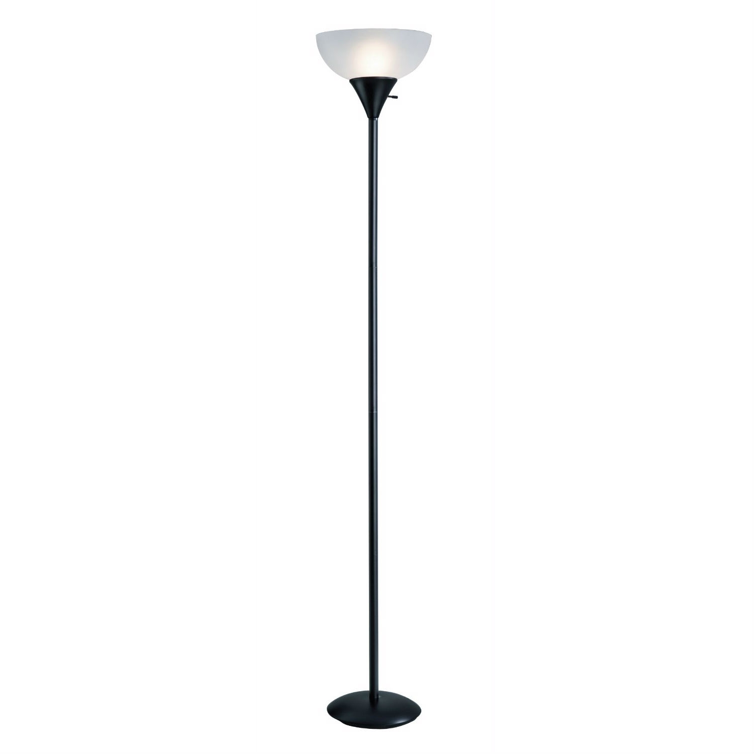 A great choice for living rooms, offices, and dens, this Black 70-inch 150-Watt Floor Lamp White Frosted Shade provides illumination for small- to medium-size rooms. It has a sleek black-painted finish with a gently curved white-frosted plastic shade that will accommodate modern and transitional decor. It's operated via a three-way rotary switch. This lamp uses a maximum 150-watt A-type three-way incandescent bulb (not included). It measures 71-1/4 inches tall and 11-3/4 inches in diameter. Assembly required. Note: This lamp is not compliant with California Title 24 lighting requirements.