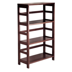 This 3-Shelf Wooden Shelving Unit Bookcase in Espresso Finish features a long profile framed by the line's signature open ladder-style sides and back. The solid-wood construction provides strength and durability, while the rich Espresso finish adds a warm yet modern feel. Matching wicker storage baskets with wire frames are sold separately. Other unit sizes include the two-shelf narrow, two-shelf wide, and four-shelf narrow.