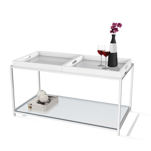 This Modern Chrome Metal Coffee Table with 2 White Removable Trays combines urban design and multi-function use. the palm beach coffee table features two removable white trays that can be reversed to use as a flat surface or as serving trays. clear tempered glass table top allows use of coffee table with or without trays. Will provide years of enjoyment; Tray is not intended for direct contact with food.