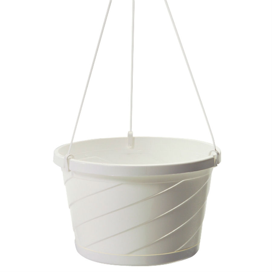 Set of 12 - White Euro Style Hanging Basket Planters, SO12HB5064 :  This Set of 12 - White Euro Style Hanging Basket Planters would be a great addition to your home. It has a white Euro style and is made in the U.S.A. An attached outside saucer for indoor or outdoor use; Hangers clip onto rim; No inside saucer required; Beautiful accent to the home, patio, or garden Indoor Use: Yes Number of Planters in Set: 1.