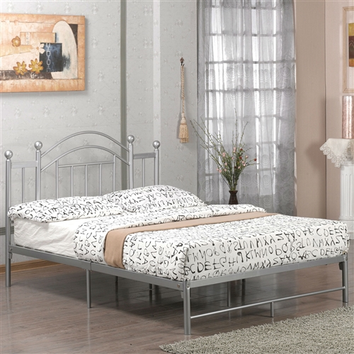Instill a sense of contemporary elegance to your bedroom space with this Full-size Metal Platform Bed Frame with Headboard and Footboard in Silver. It features an arched headboard with vertically slatted lines and round vintage posts. This bed comes with a height that is perfect for hopping in and out of it without much effort. Since there are strong slats to firmly support a large mattress, a box spring won't be needed for this bed. It is constructed from the toughest form of metal, which can last for years. The seven legs of this bed provide great support and helps it stay steady. Number of Center Support Legs: 4; Weight Capacity (Twin, Full Size): 250 Pounds; Weight Capacity (Queen Size): 500 Pounds; Country of Manufacture: China.