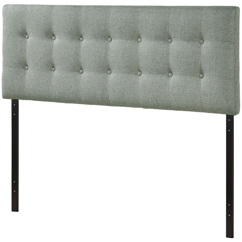 "Add elegance to your bedroom with this Full-size Grey Fabric Button-Tufted Upholstered Headboard. Designed with just the right amount of grace, Emily is made from fiberboard, plywood, and fine polyester upholstering for a construction that is both lightweight and long-lasting. Perfect for contemporary and modern bedrooms, sleep soundly with a piece that imparts a sense of tranquility amidst an impressive backdrop of style. Fits full-size beds. Set Includes: One - Full Headboard Product Dimensions: Overall Product Dimensions: 3.5""L x 56""W x 45 - 52.5""H. Deep inset buttons; Fiberboard and plywood frame."