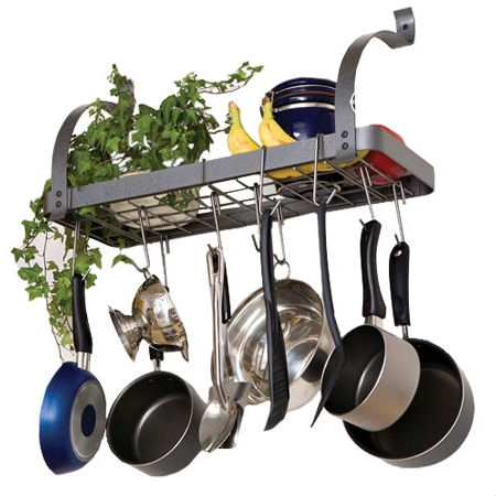 This Wall Mounted Metal Kitchen Storage Shelf Pot Rack is the perfect fit for kitchens with limited space. With 8 hooks and strong steel construction, this rack is extremely convenient and built to last. This rack can be easily anchored to drywall with very little hassle - no need to locate and bolt to studs! Keep kitchens clean and clutter-free; Store pots and utensils overhead for easy access; Free up counter top and cabinet space. Attach to drywall - no studs required; Strong stainless steel construction: 1/8 thick hot-rolled steel strong enough to hold a 125 lb. anvil; Silver/gray powder coat finish; 5-year limited warranty.