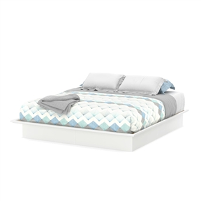 This King size Contemporary Platform Bed Frame in White Finish has a timeless look and blends easily in any décor. Mouldings of the platform bed have profiled edges that help the mattress to stay in place. Economic choice since it does not require a box spring. Weight capacity is 500 lbs. Can be attached to the headboard (3107290) for a complete kit. Also available in Chocolate or Pure Black finish.  The back surface is not laminated. Mattress and accessories not included. Manufactured from certified Environmentally Preferred laminated particle panels. Complete assembly required by 2 adults. Approximate assembly time: 1:45. Tools are not included. 5-year limited warranty. Made in Canada.