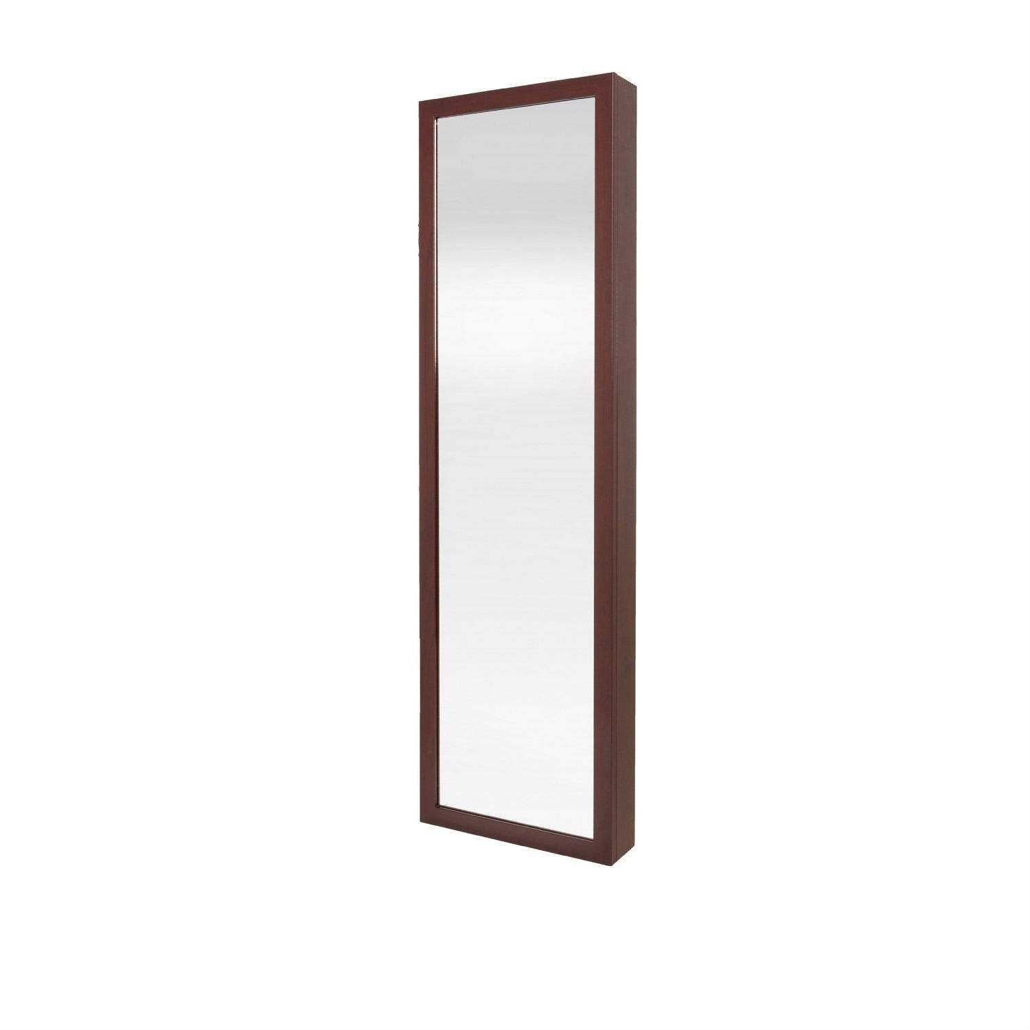 Wall / Door Mount Jewelry Armoire / Full Length Mirror in Cherry Finish, DM01297521 :  This Wall / Door Mount Jewelry Armoire / Full Length Mirror in Cherry Finish would be a great addition to your home. Jewelry armoire mirror.-Full length mirror hides a secret jewelry armoire.-Framed mirror.-Attaches to either wall or hangs on door with special brackets supplied. Construction: -Wood, metal and glass construction. Color/Finish: -Cherry finish.