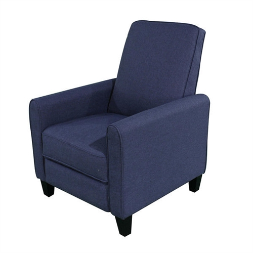 Relax in style with this Navy Blue Cotton Upholstered Club Chair Push Back Recliner featuring a solid frame and sturdy feet for added stability and strength. This comfortable reclining chair is great for small spaces and functions as a great place to take a nap or read a book. Wall hugger; Fully reclines: Yes; Upholstery Material: Cotton; Frame Material: Wood; Design: Club Recliner; Swivel: No; Scratch Resistant: Yes;Stain Resistant: Yes; Mildew Resistant: Yes; Fade Resistant: Yes; Tear Resistant: Yes; Seating Comfort: Soft; Cushion or Upholstery Fill Material: Foam; Foam Density: 21. Number of Reclining Positions: 2; Reclining Mechanism Side: Right; Reclining Mechanism Details: Push Back; Mechanism; Required Back Clearance to Recline: 4 Inches.