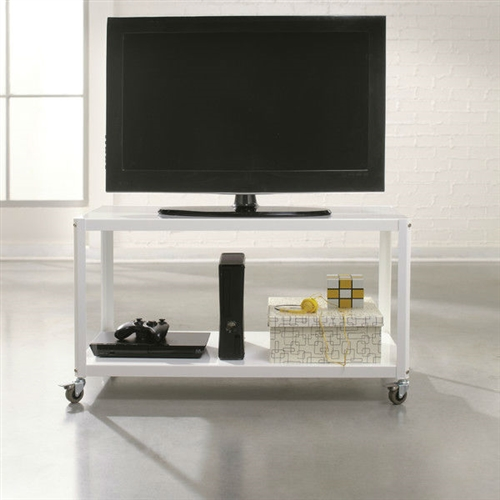 This White Metal Modern TV Stand Cart with Bottom Storage Shelf would be a great addition to your home. It has casters for mobility and is made of metal. Frame Material: Metal; Media Storage: No; Cable Management: Yes; Product Type: TV stand; Design: Open shelving; Hand Painted: No; Style: Modern; Recommended Age Group: Adult; Exterior Shelves: Yes.