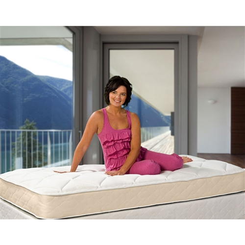 This Twin size Firm 9-inch High Profile Innerspring Mattress with Fabric Cover was designed with support in mind, and it delivers like none other. This piece boasts a firm high-profile 288 innerspring system with premium upholstery and a soft fabric cover, creating an altogether superior sleeping experience in every way. This splendid mattress features a no-flip design, easy as cake, offering a single dependable surface for many years of sweet, sweet slumber. Choose from a variety of sizes to find what best suits your needs, then feel the magic unfold as you're swept into a rest so sublime you'll never want to leave.