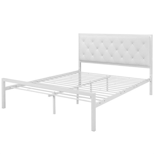 Sleep peacefully with this Queen size Modern White Metal Platform Bed with Upholstered Headboard solid in both style and construction. Mia comes with a powder-coated steel frame that offers sturdy and long-lasting support; while the vinyl headboard with deep tufted buttons add a touch of magnificence to an otherwise minimalist design. The Mia Bed comes with foot glides to prevent floor scratching and does not require a box spring. 1 Year warranty; Bed Type: Platform; Frame Material: Wood; Headboard Included: Yes; Box Spring Required: No. Recommended Mattress Height: 10.5 Inches; Mattress Profile Maximum: 14 Inches; Mattress Profile Minimum: 10 Inches; Country of Manufacture: China; Product Warranty: 1 Year; EPP Compliant: Yes; CPSIA or CPSC Compliant: Yes; CPSC - 16 CFR 1303 Compliant: Yes