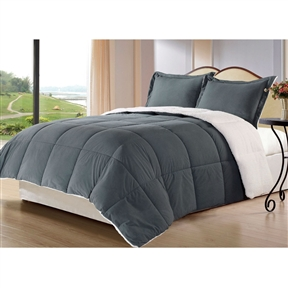 Snuggle up under this King size 3-Piece Sherpa Berber Throw Blanket Comforter Set in Grey and stay warm all winter. This reversible Down Alternative Comforter Set features soft Sherpa/Berber material on one side and super micro fiber polyester on the other side. The blanket is available in your choice of Twin Full/Queen or king Sizes. This Down Alternative Comforter/Blanket/Throw/Duvet Insert is treated with an anti-microbial finish to repel dust miles and is ideal for allergy sufferers.