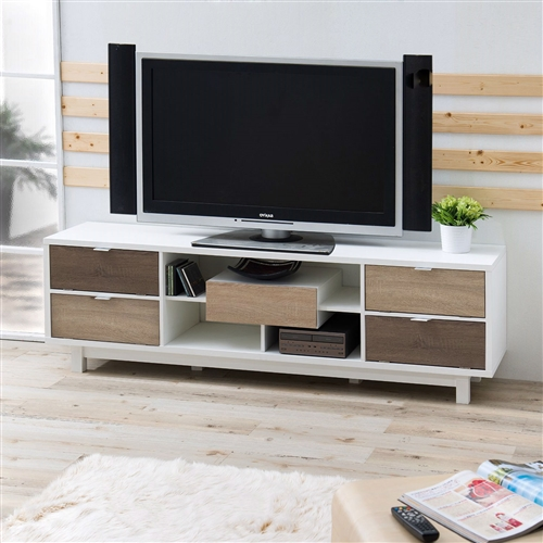 "For a touch of modern and sleek, look no further than this Modern 70-inch White TV Stand Entertainment Center with Natural Wood Accents. This piece showcases a milky white wood frame with a spacious 70-inch top. Four shelves offer room to house electronic media players, with an open design for easy rear wiring access. Four covered compartments and a center drawer on double metal glides provide ample room for media storage and organization. Finished in white with accents of natural wood. Made in Taiwan, assembly required. Overall dimensions: 70.8""L x 15.7""W x 21.8""H. All décor and items are not included in this offer unless specified."