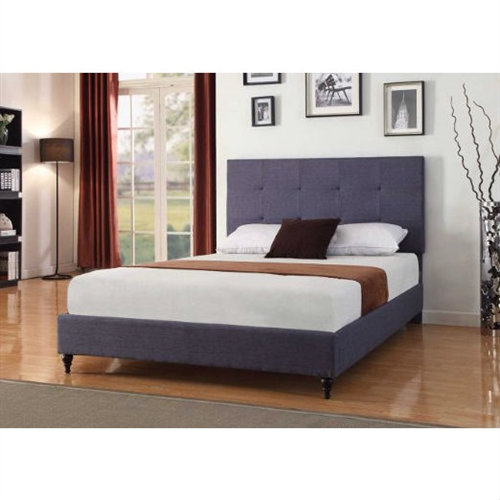 This Full size Dark Blue Charcoal Linen Platform Bed with Upholstered Headboard has a high quality linen construction. With Slats unlike anyone else who sells beds. All you need is a Mattress no bulky box spring to worry about.