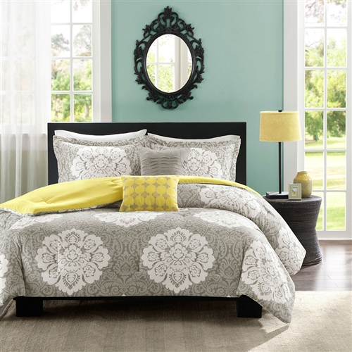 Update your space with style and comfort. This King size 5-Piece Floral Damask Comforter Set in Teal Blue White and Green Colors combines a modern Grey with a soft Yellow reverse to highlight this beautiful white Damask print.