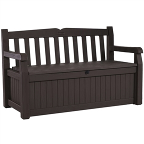 Outdoor Garden Bench with Arm Rest and Storage Box in Dark Brown, KEB1795218 :  Want to turn your yard into a garden paradise? This Outdoor Garden Bench with Arm Rest and Storage Box in Dark Brown is a great place to start. At first glance, the bench looks like a clean, contemporary wood-style bench with comfortable seating for two adults. But hidden beneath is a large-capacity outdoor storage solution to keep your yard and garden supplies out of sight until needed. The bench is made from high-strength, all-weather and UV-protected resin. It will not warp, rust, rot, dent or peel (and its beige and brown resin never needs painting). The bench is also ventilated, but waterproof to keep contents dry. And to make sure your prized garden angel collection stays safe and secure while you are away from home, the Eden Bench is lockable. It's a storage box. It's practically perfect.