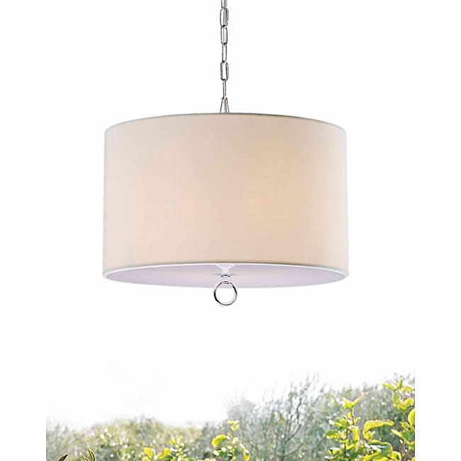This Beige Fabric 3-light Chrome Chandelier would be a great addition to your home. This fixture needs to be hard wired. Professional installation is recommended.