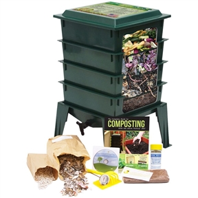 """Green Worm Factory 360 Composter with Compost Tea Spigot for Home Garden Composting, WF360G10995 :  Composting with worms allows you to turn kitchen scraps, paper waste and cardboard into nutrient-rich soil for your plants. This Green Worm Factory 360 Composter with Compost Tea Spigot for Home Garden Composting makes the entire process quick and easy. With a thermo siphon air flow design, the Worm Factory 360 increases the composting speed. Now you can produce compost much faster than traditional composting methods. This version of the Worm Factory 360 comes in terracotta, and it's also available in green and black. The redesigned lid converts to a handy stand for trays while harvesting the compost; Included instructional DVD with step-by-step guide for managing your Worm Factory 360; The accessory kit provides basic tools to make managing the Worm Factory 360 easier; Built in """"worm tea"""" collector tray and spigot for easy draining."""