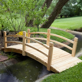 Classic 6-Ft Garden Bridge in Unfinished Fir Wood, GB5198731 :  Create your own garden oasis with this Classic 6-Ft Garden Bridge in Unfinished Fir Wood. Whether it crosses an actual stream or one made simply of flowers, this bridge will enhance the beauty of your yard. It's crafted of beautiful fir wood that is naturally resistant to water and insects and if left untreated it will weather to a handsome silver color. This bridge has a simple design that goes with any garden theme.