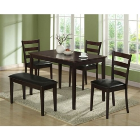 This 5-Piece Dining Set in Cappuccino Finish is the perfect solution for small kitchens or dining spaces. The sleek rectangular dining table features tapered square legs that adds a modern appeal. The side chairs have horizontal curved back slats and are upholstered in padded easy care leatherette material. Not only is the bench ideal for small spaces, it concludes the unique and trendy look of this dining ensemble. Finished in a dark Cappuccino, this cool contemporary five piece dinning set is a great addition to any home or apartment.