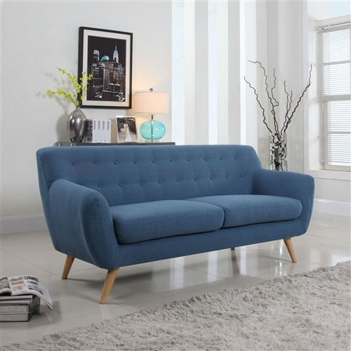 This Blue Linen Mid-Century Modern Sofa with Natural Wood Legs is just what you need to give your living room or bedroom a pop of color. This fun design is to give your traditional rooms a more modern look. Featuring hardwood frame and legs, this sofa offers a tufted design. Eco-friendly: No; Design: Standard; Upholstery Material: Linen; Upholstery Material Details: Fabric; Product Type: Sofa; Frame Material: Wood;  Frame Material Details: Wood; Hardware Material: Aluminum. Removable Seat Cushions: Yes; Removable Back Cushions: No; Removable Cushion Cover: Yes; Reversible Cushions: No; Toss Pillows Included: No; Arm Style: Round arms. Seat Style: Multiple cushion seat; Back Style: Tufted back. Seating Firmness: Firm; Seating Capacity: 2; Weight Capacity: 350 Pounds. Application: Both Commercial and Residential;  Country of Manufacture: China.