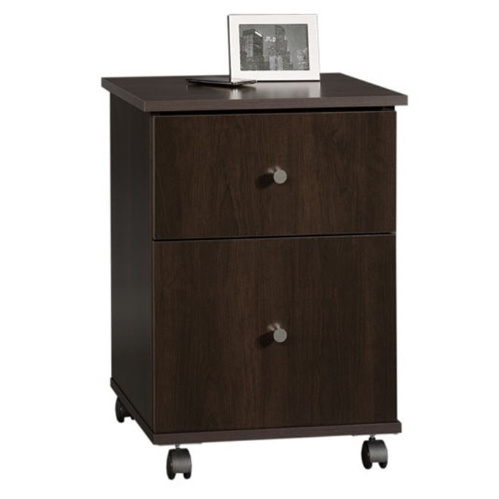 This Cinnamon Cherry Finish 2-Drawer Mobile File Cart Filing Cabinet would be a great addition to your home. It has a cinnamon cherry finish and uses a patented T-slot drawer system.