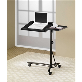 This Adjustable Height Mobile Laptop Computer Desk Stand in Black Finish features adjustable height and swivel top. Also, it has casters for easy mobility.