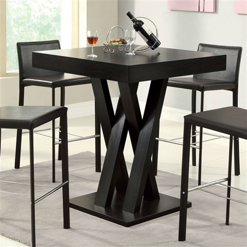 Add a classic touch to your decor with this Modern 40-inch High Square Dining Table in Dark Cappuccino Finish. The dining table is made from high quality material, which adds to its quality and style. The small size of the Dining Table is a perfect choice for breakfast nooks or patio. The cappuccino finish of the table blends with most room decors. The pedestal base provides enough leg room and lets you enjoy your meals with comfort. The bold criss and cross supports provide a firm support to the table and looks stylish. The table will complete the look of your decor when paired with modern bar stools.