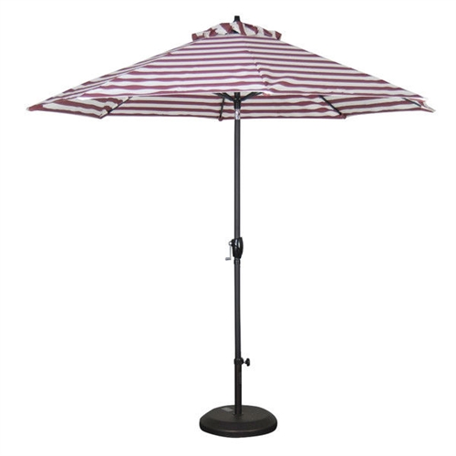 Red and White Stripe 9-Ft Market Patio Umbrella with Push Button Tilt, RWSPU61847845 :  Create a shady oasis in your outdoor living space by adding this Red and White Stripe 9-Ft Market Patio Umbrella with Push Button Tilt! It features a sturdy, powder coated finish aluminum pole that can be tilted to adjust as the angle of the sun changes. The umbrella fabric resists weather and fading, so it can be left outdoors all year long. An easy-to-use hand crank makes opening and closing the umbrella very simple! With its pole, this umbrella will work with any standard patio set! Easy crank open function; Optional base is not included and must be purchased separately; Push button tilt; 9 Durable ribs high quality fabric; Center pole and hardware comes in powder coated dark ash finish; Aluminum frame; Fabric material: Olefin; Umbrella Type: Market; Canopy Material: Olefin; Canopy Shape: Round; Pole Material: Metal; UV Resistant: Yes; Rust Resistant: Yes; Fade Resistant: Yes; Lift Method: Crank lift; Tilt: Yes; Product Warranty: 6 Months.