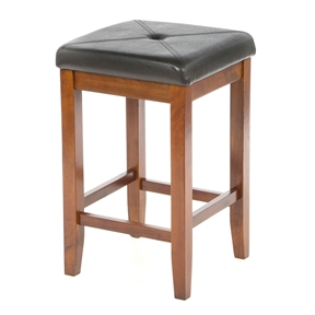 """Comfort and style combined. The Set of 2 - 24-inch High Cherry Bar Stools w/ Cushion Faux Leather Seat features solid hardwood construction. The cushioned seat is upholstered in simulated leather, that is stain and spill resistant. Foam cushioned seat; Seat upholstered in durable stain resistant simulated leather; Manufacturer provides 3 months limited warranty; Style: Contemporary; Seat Height Type: Counter (24""""-27""""); Seat Style: Square; Leg/Base Type: 4 legs; Footrest Included: Yes; Commercial Use: No; Country of Manufacture: Viet Nam."""