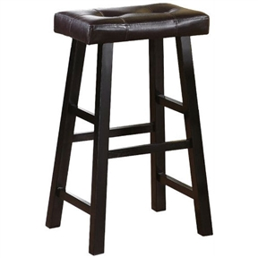 This Set of 2 - 29-inch Espresso Bar Stools with Faux Leather Seat is designed with pure modern composition. It's seating is covered in dark brown faux leather with a medium shine for a luxurious feel. The stool legs resemble a painters bench for a casual presence, making it a perfect fit for any dining or entertaining experience.