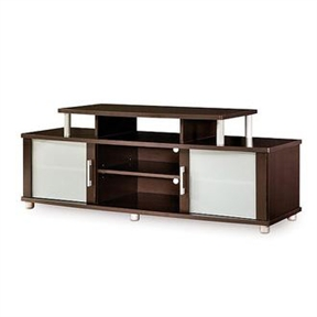This Ciudad de Vida Modern Espresso TV Stand for TVs up to 50 inches has curved shapes, metal accents and frosted glass that add up to a popular and unique TV stand for your living room or den.