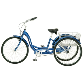 Blue Mens Womens Cruiser Style 3-Wheel Tricycle Bike with Basket, BT6841451 :  This Blue Mens Womens Cruiser Style 3-Wheel Tricycle Bike with Basket would be a great addition to your home. It has a aluminum step-through tricycle frame. Rust-proof stainless-steel wheels and spokes; Quilted comfort saddle for long rides; Ages: 15 years and up; Person should be 5'5 to ride the tricycle; Powder Coated Finish: Yes; Frame Material: Metal; Material Details: Aluminum; Hardware Material: Stainless steel; Number of Items Included: 1; Number of Seats: 1; Number of Speeds: 1; Tassels: No; Bell: No; Bottle Holder: No; Reflectors: Yes; Fenders: Yes; Adjustable Handlebars: Yes.   Adjustable Seat: Yes; Harness Included: No; Storage: Yes; Gender: Boy; Girl; Brakes: Yes; Brake Type: Hand brake; Country of Manufacture: China;  Assembly Required: Yes; Additional Parts Required: No; CPSIA or CPSC Compliant: Yes; Frame Material: Metal.  Assembly Required: Yes