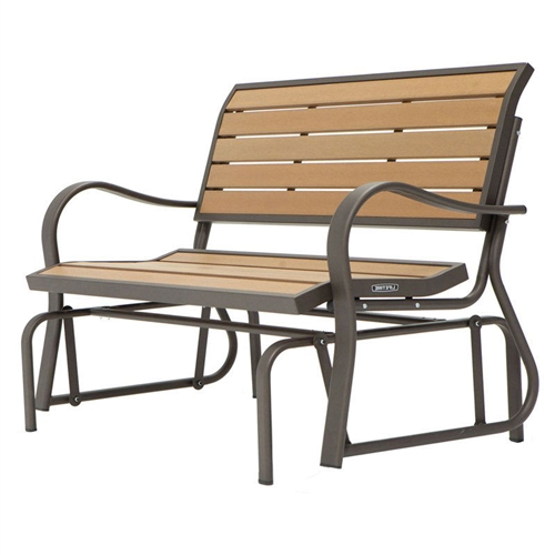 4-Ft Weather-Resistant Outdoor Loveseat Glider Bench in Wood Grain, WGLP1548462 :  Glide into inaction upon this 4-Ft Weather-Resistant Outdoor Loveseat Glider Bench in Wood Grain. Ball bearings create a smooth gliding motion, and with simulated wood in light walnut, you'll have all the beauty of wood at a fraction of the cost. The powder-coated steel frame in bronze will provide solid support, and with rust-resistant all-weather finish, it will endure the slings and arrows of outrageous weather for years to come. Material Plastic Style Classic, Bench