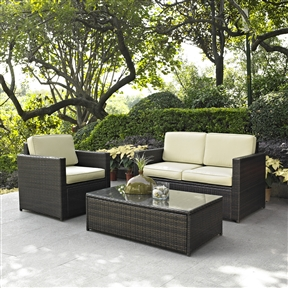 3-Piece Outdoor Patio Furniture Set with Chair Loveseat and Cocktail Table, C3PS57630 :  Set your ice cold beverage on the table and lounge around on this 3-Piece Outdoor Patio Furniture Set with Chair Loveseat and Cocktail Table. Finely crafted with intricately woven wicker over durable aluminum frames, this timeless wicker furniture provides lasting comfort and style. Let your worries fade away as you doze off in our UV fade resistant cushions. Use a soft clean cloth that will not scratch the surface when dusting. Use of furniture polish is not necessary. Should you choose to use a furniture polish, test in an inconspicuous area first. Use of solvents of any kind could damage your furniture's finish. To clean, simply use a soft cloth moistened with lukewarm water, then buff with a dry soft clean cloth.  Water repellant cushions; High grade cushion cores; Tempered glass top; Set includes loveseat, arm chair and tempered glass top cocktail table; Weather Resistant Details: Weather resistant; Detachable Cushion: Yes; Water Resistant Details: Water resistant; Assembly Required: Yes; Product Warranty: 3 Month limited; Frame Material: Aluminum; Woven Material: Resin wicker; Woven: Yes; Upholstery Material: Sunbrella.  Chair Arm Width - Side to Side: 3.5 Inches; Chair Arm Height - Top to Bottom: 26 Inches; Table Width - Side to Side: 31 Inches; Seat Cushion Depth: 26.5 Inches; Seat Cushion Width: 23.5 Inches; Seat Cushion Thickness: 5 Inches. Chair Weight Capacity: Chair: 250 Pounds; Individual Chair Weight Capacity: Loveseat: 250 Pounds; Pieces Included: Loveseat, Arm chair, Cocktail table; Country of Manufacture: China.