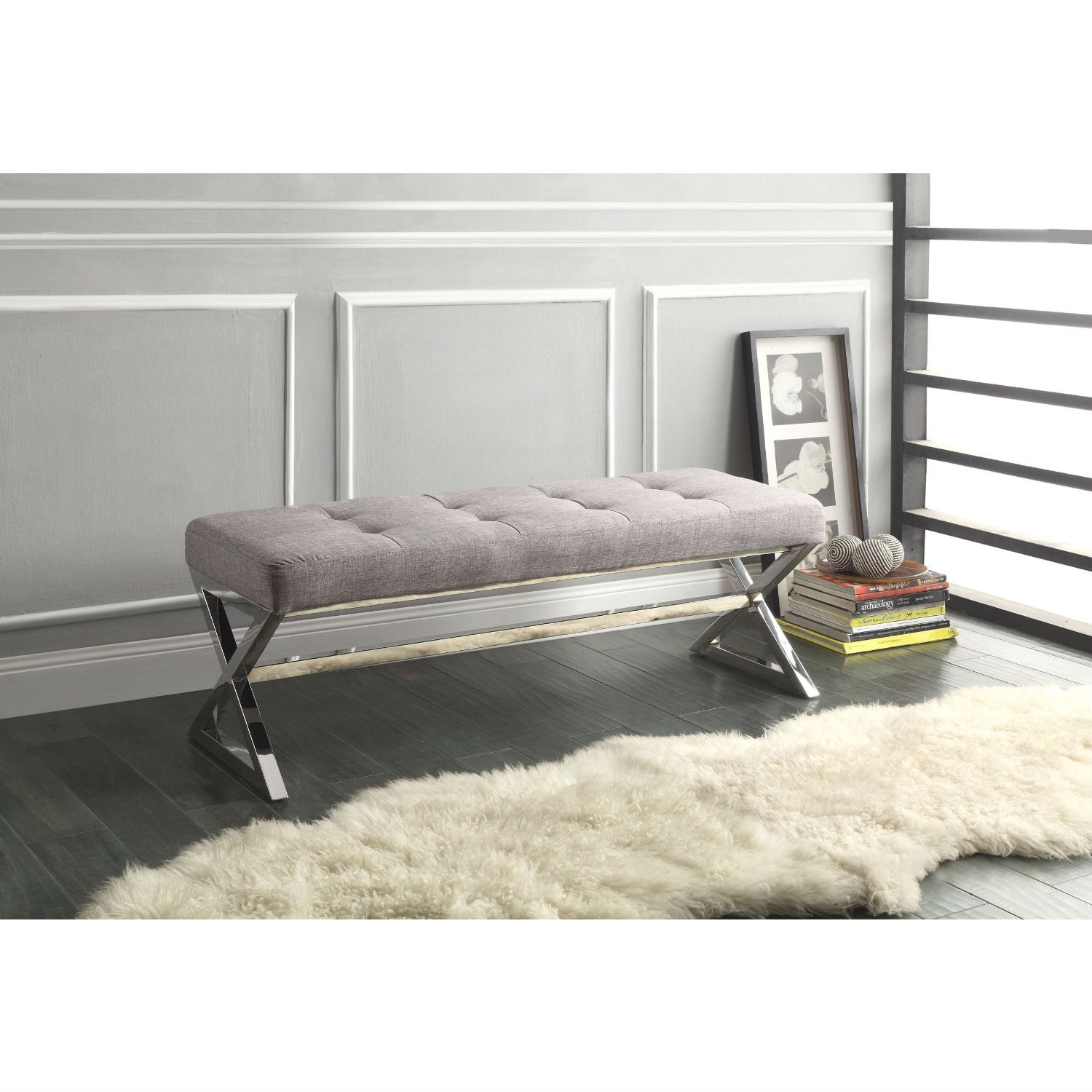 "Modern Living Room Metal Bench with Button-Tufted Grey Linen Seat, HMBG18624 :  Designed for your fashion forward home, this Modern Living Room Metal Bench with Button-Tufted Grey Linen Seat is supported by chromed metal trestle X-framing base and the seat is covered in button-tufted grey linen fabric. Also available in black bonded leather cover. Padded with fire-retardant foam for foot-resting or extra seating; Measures 48""W x 16.5""D x 18""H; Minor assembly required; Contemporary style ottoman/bench fits in any home décor and also available in Black Bonded Leather cover."