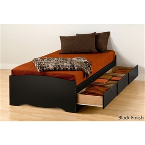 """This Twin XL Platform Bed Frame with 3 Storage Drawers in Black is 5 inches longer than a standard twin making it ideal for teenagers and College students. Underneath are 3 large storage drawers (20"""" depth) that run on smooth running metal drawer glides. Every room needs more storage and this is a great place to add it! Wood slats positioned lengthwise distribute body weight evenly and take the place of a box-spring, so the bed needs only a mattress. Three Drawers are located on one side so that the bed can be positioned left or right to suit any bedroom layout. Available in two colors: Espresso finish, an attractive laminate that simulates a rich, dark wood finish or Midnight Black laminate. Please specify when ordering. This product is made from composite woods with overlay laminate and plywood slats. It ships flat-packed (in two cartons) and assembly is required. Detailed and easy-to-follow instructions are included."""