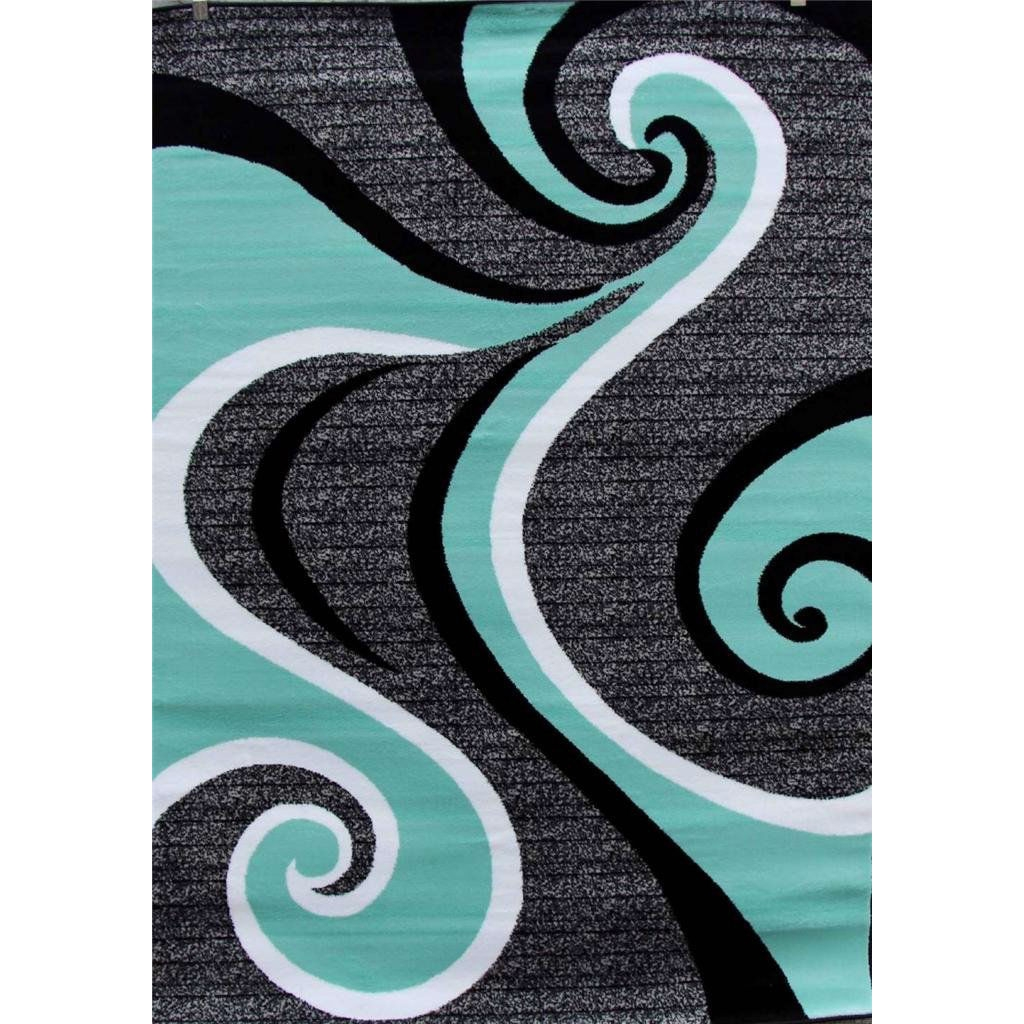 5'2 x 7'2 Modern Abstract Area Rug with Black Turquoise Swirl, RBSM901 :  This 5'2 x 7'2 Modern Abstract Area Rug with Black Turquoise Swirl would be a great addition to your home. Beautifully designed with unique colors that bring out the beauty of one of our best-selling area rugs , plush and soft yet durable to stand test of time, easy to maintain, this would be a value to any home.