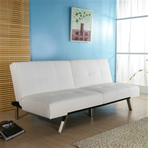 With pristine white PU leatherette upholstery and minimalistic design, this White Leatherette Futon Sofa Bed with Chrome Metal Legs has a contemporary look. The seat and split back feature a tufted design. This futon sofa bed is supported by stylish chrome legs. With a smooth click-clack mechanism, it can be easily converted into a bed in no time. Multi-functional, contemporary style highlights this Jacksonville foldable futon bed. This Click-Clack sofa bed features white leatherette upholstery and a split seat back.