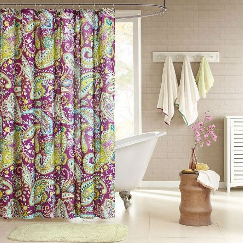 Purple Yellow Teal Paisley Bath Shower Curtain 72 x 72 inch, MSCP5198152 : This Purple Yellow Teal Paisley Bath Shower Curtain 72 x 72 inch enhances the dimension and character of your bathroom. The yellow on the reverse side adds more color and vibrancy to this shower curtain. Made from polyester this shower curtain is machine washable for easy care.